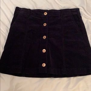 Navy Blue Corduroy Skirt